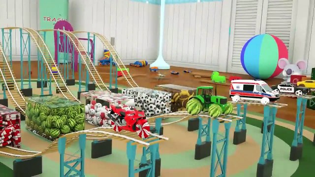 Dump Truck Assembly Police Cars Tires With Surprise Soccer Balls Street Vehicles Video