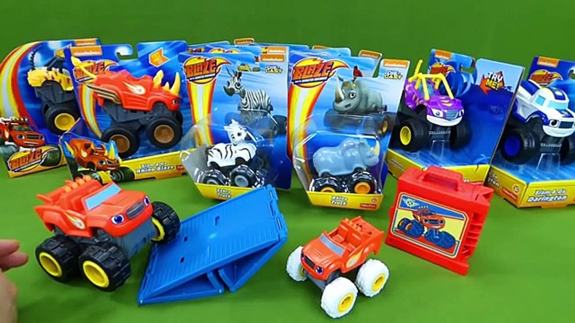 Lots Of Blaze And The Monster Machines Toys Animal Island Diecast Rhino Stripes Crusher Truck Toys Video Dailymotion