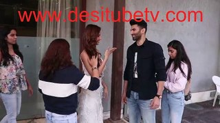 Malang hot couple Disha Patani and Aditya Roy Kapoor look so much into each other at Malang promotion. Dish looks hot in low plunging neckline white slit gown