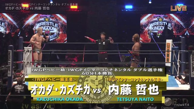 60fps / Kazuchika Okada (C/V6) VS (C/V1) Tetsuya Naito '20.1.5 [IWGP Heavyweight・IWGP Intercontinental Double Championship Match] [WORLD PRO-WRESTLING LIVE 2020 ~ WRESTLE KINGDOM 14 in TOKYO DOME]