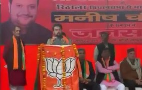 BJP leader Anurag Thakur at a rally in Rithala in Delhi