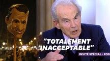 Robert Badinter très en colère face à la tête d'Emmanuel Macron sur une pique