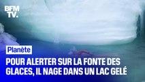 Pour alerter sur la fonte des glaces, le Britannique Lewis Pugh nage dans un lac gelé
