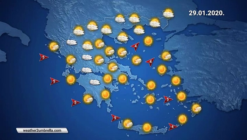Η πρόβλεψη του καιρού για την Τετάρτη 29-01-2020