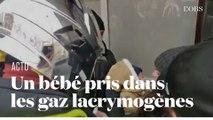 Un bébé se retrouve pris dans les gaz lacrymogènes en marge de la manifestation des pompiers à Paris