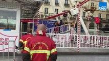 Les pompiers en exercice sur la grande roue de Bayonne