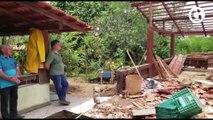 Aposentado tem casa destruída por deslizamento de terra e afirma que foi salvo por um livramento de Deus
