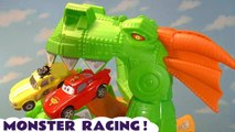 Disney Pixar Cars 3 Lightning McQueen in Hot Wheels Monster Racing Challenge with Funlings Paw Patrol Skye and Toy Story 4 Forky Family Friendly Full Episode English