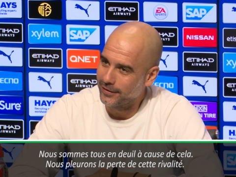"""25e j, Guardiola est """"désolé pour les journalistes"""" que sa rivalité avec Mourinho ne soit pas la même qu'en Espagne"""