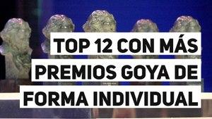Top 12 con más premios Goya de forma individual