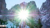 Le soleil transperce une montagne en suisse : images magnifiques