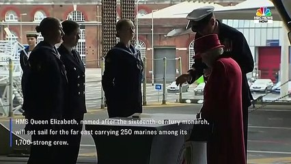 Queen Visits U.S. Marines Aboard New British Aircraft Carrier