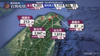 新冠病毒台灣疫情 更新時間 2021/05/25 14:00