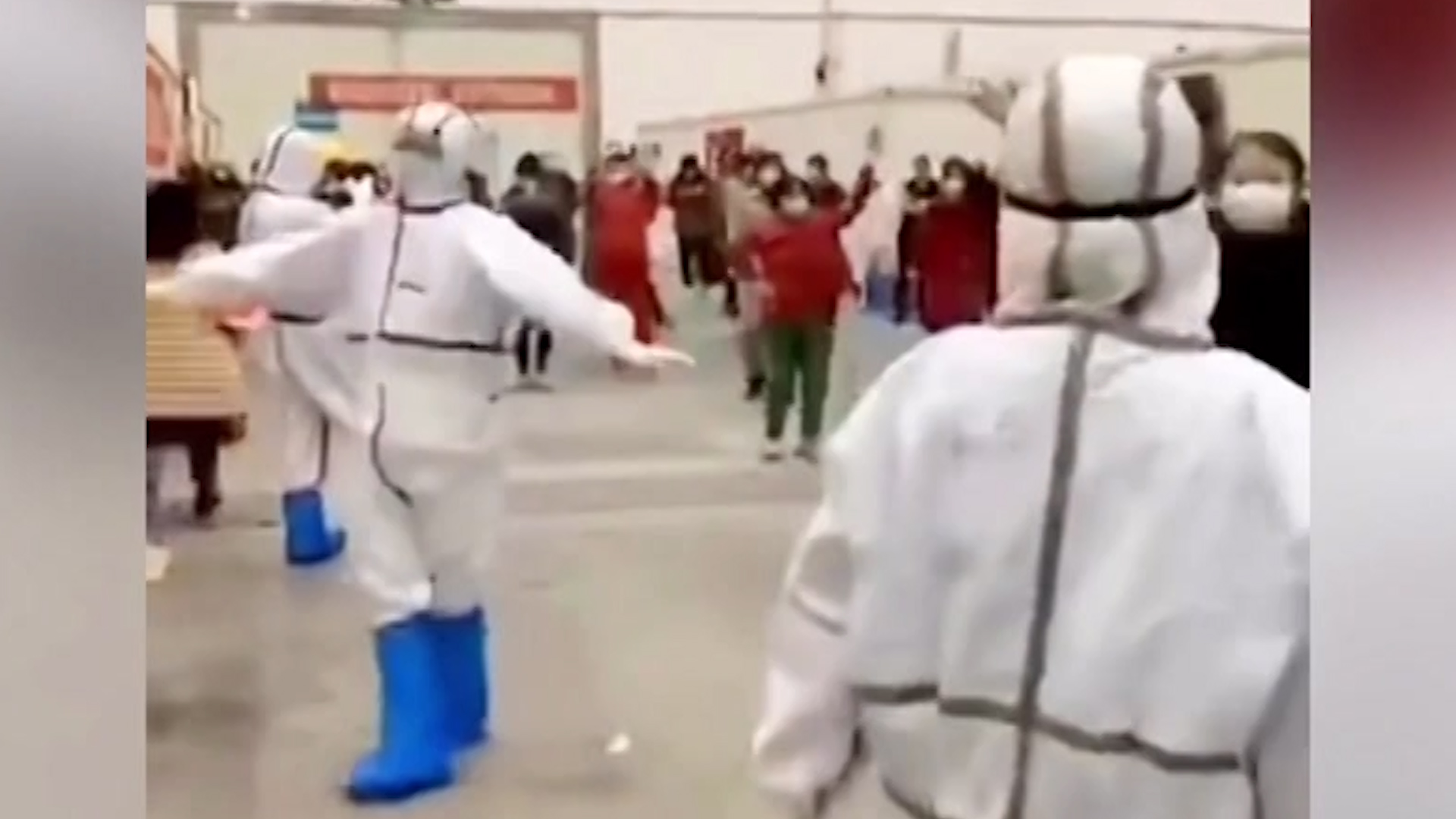 Coronavirus medical staff dance with quarantined patients in Wuhan