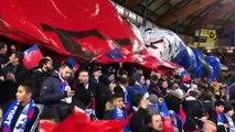 Belfort – Rennes en quart de finale de la Coupe de France au stade Bonal : le tifo déployé lors de l'entrée des joueurs