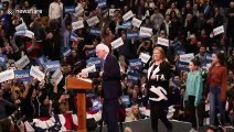 New Hampshire Primary Night: Sanders walks out and takes the stage to applause