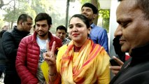 AAP MLA Pramila Tokas flashes 'V'ictory sign a day after her party won 62 seats