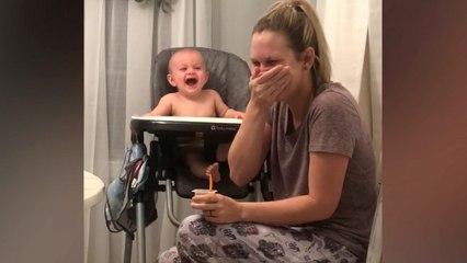Unglaublich süß: Baby hat Lachanfall wegen niesender Mutter