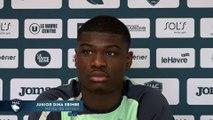 Avant Paris FC - HAC, interview de Junior Dina Ebimbe