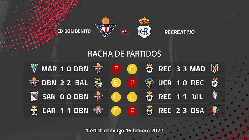 Previa partido entre CD Don Benito y Recreativo Jornada 25 Segunda División B