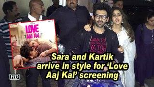 Sara Ali Khan and Kartik Aaryan arrive in style for 'Love Aaj Kal' screening