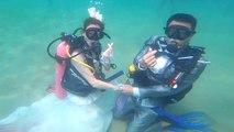 Des couples se marient sous l'eau pour la Saint-Valentin