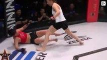 Una luchadora de MMA noquea a su rival de una potente patada en la cabeza