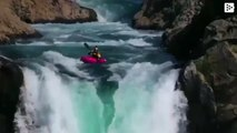 A kayaker challenges death by jumping down a large waterfall in Chile
