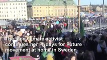 Greta Thunberg attends climate strike in Stockholm