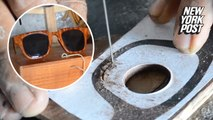 Wood-frame glasses cleverly carved out of recycled furniture