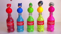 5 Pj Masks Bottles with Balls Beads, Learn Colors with Coca Cola Surprise Bottles Toy