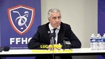 Hockey sur glace Interview de Luc Tardif, Président de la FFHG, le 16/02/2020 Conférence de Presse lors de la Finale de la Coupe de France 2020