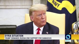Trump demands Russia end support for Damascus