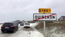 VIDÉO - Tempête Dennis : à Quiberon la plage noyée sous une vague d'écume