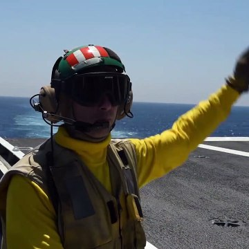Flight Operations - Aboard US Navy Aircraft Carrier - USS George H W Bush