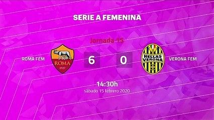 Resumen partido entre Roma Fem y Verona Fem Jornada 15 Serie A Femenina