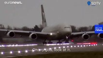 Watch: Pilot lands 394-ton A380 sideways as Storm Dennis rages