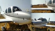 In Andhra a small plane landed in a paddy field