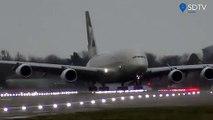 Atterrissage d'un Airbus A380 pendant la tempête Dennis