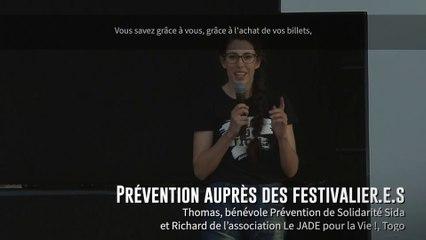 Thomas de Solidarité Sida et Richard du Jade pour la Vie ! / Prévention auprès des festivalier.e.s
