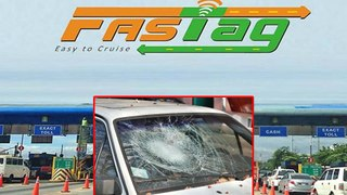 FasTag creates Drama , Toll Plaza employee breaks car glass