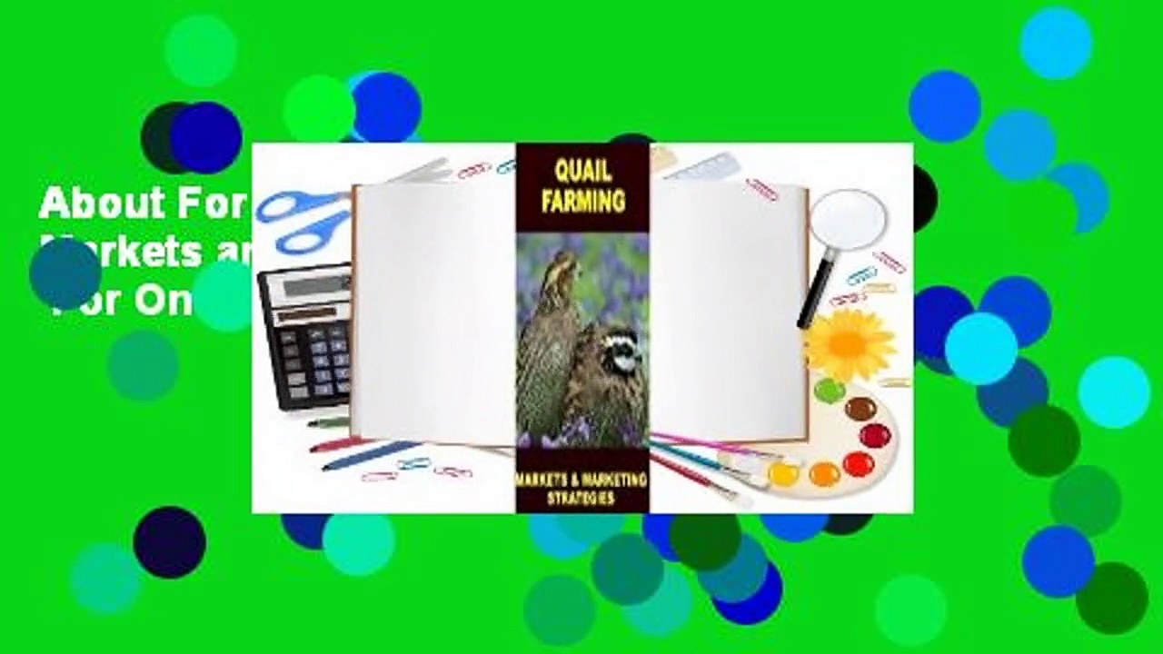 About For Books  Quail Farming: Markets and Marketing Strategies  For Online