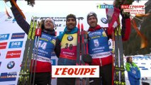 Le bonheur de Martin Fourcade sur le podium de l'individuel - Biathlon - ChM (H)
