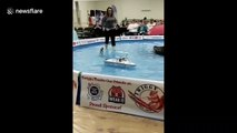 Twiggy, the impressive water skiing squirrel, wows the crowd in Minnesota