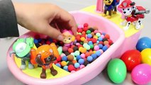 Baby Doll Bath Time Glitter Slime Learn Colors Paw Patrol Pups Play Doh Surprise Eggs Toys
