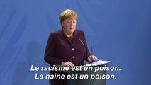 """Double fusillade: Merkel dénonce le """"poison"""" du racisme en Allemagne"""
