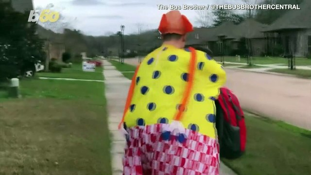 Oh, Brother! Big Bro Wears Funny Costumes to Embarrass Young Brother Getting Off the School Bus