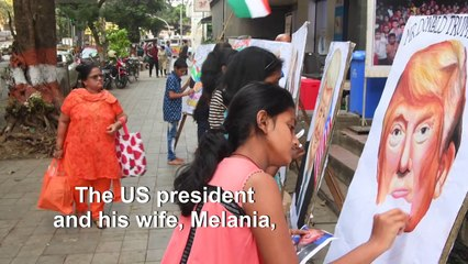 Indian students paint Trump portraits ahead of US leader's first visit to the country