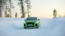 The new Audi RS Q3 in Kyalami Green Driving on ice