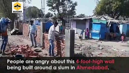 India Builds Wall Around Slum Ahead of Donald Trump's Visit